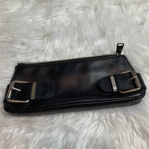Banana Republic Black Leather Cosmetic Bag